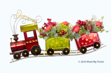 Christmas Celebration ***Faux Flowers***Metal Holiday Train