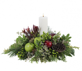christmas center with white candle holiday