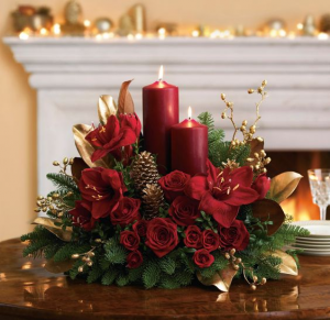 Christmas Centerpiece with Pillar Candles Golden Magnolia  in Oakville, ON | ANN'S FLOWER BOUTIQUE-Wedding & Event Florist