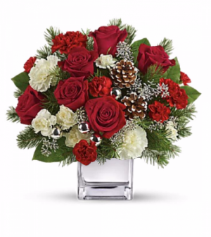 Christmas Cheer Cube Vase in Redlands, CA | REDLAND'S BOUQUET FLORIST & MORE