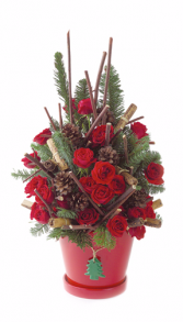 Christmas Cheer Tree shaped rose arrangement