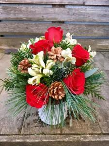 Christmas Cheer Milkglass Hobnail Vase
