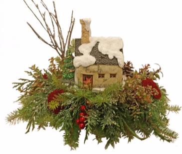 Christmas Cottage Lit Keepsake Arrangement