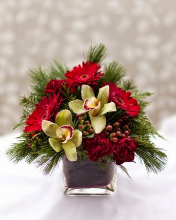 Christmas cube with orchids