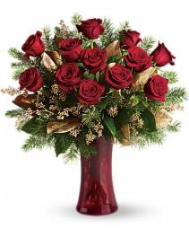 Christmas Dozen Red Roses  Fresh Flowers