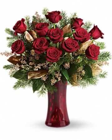 Christmas Dozen Roses in Red Vase