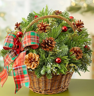 Christmas Evergreen Basket  in Valley City, OH | HILL HAVEN FLORIST & GREENHOUSE