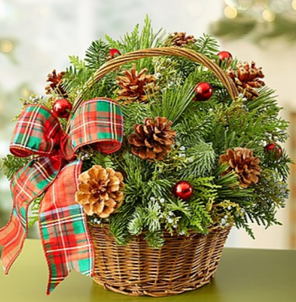 Christmas Evergreen Basket