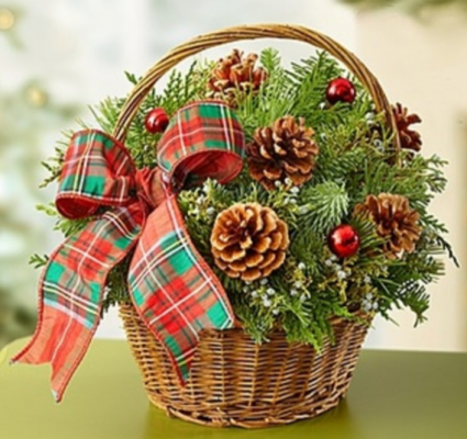 Christmas Evergreen Basket Arrangement