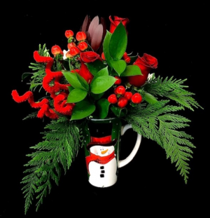 Christmas Floral Snowman Mug Red Rose Mix with Christmas Design in Plainview, TX | Kan Del's Floral, Candles & Gifts