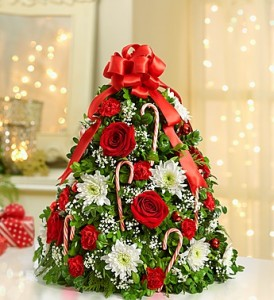 Christmas Boxwood Tree With  Ribbons Flowers and Candy