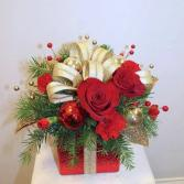 Glitzy Gift Box Christmas Arrangement ***LOCAL DELIVERY ONLY***