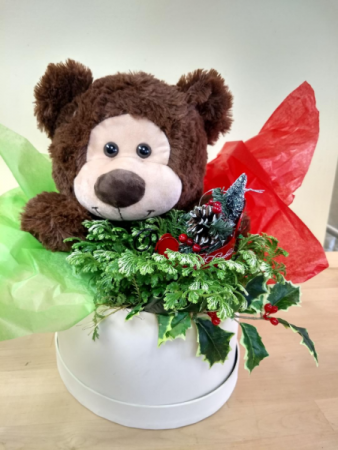 christmas gift with bear ,frosty fern plant , ornament in keepsake hat box