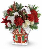 Gingerbread house arrangement Christmas flowers