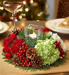 CHRISTMAS GLOW Holiday Centerpiece in Worthington, OH   UP-TOWNE FLOWERS & GIFT SHOPPE