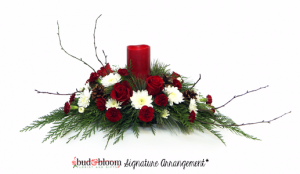 Christmas Glow with scented LED Pillar Candle Bud & Bloom Signature Arrangement in Mooresville, IN | BUD AND BLOOM FLORIST AND GIFTS