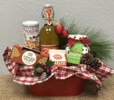Christmas Gourmet Gift Basket in Red Metal Container