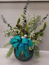 Christmas greenery and silver balls and berries  Sparkle teal bow Silk Arrangement (ARTIFICIAL)