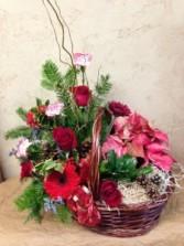 Christmas Poinsettia Plant Basket