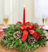 Christmas greens centerpiece