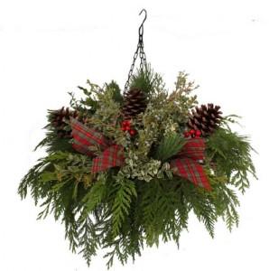christmas greens hanging basket - Christmas Hanging Baskets