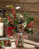 Christmas greens in mason jar