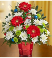 Christmas Greetings™ in a Red Vase Arrangement