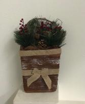 Christmas hanging basket Silk Arrangement