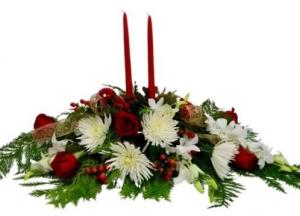 Christmas Joy Centerpice in Coral Springs, FL | Hearts & Flowers of Coral Springs