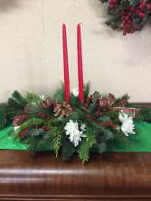 Christmas Light 2 Red Taper Centerpiece