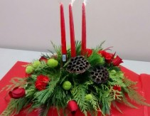 christmas lights table setting