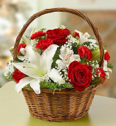 Christmas Lilies Basket Arrangement
