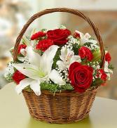 Christmas Lilies Basket Arrangement