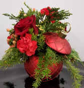 Christmas Magic Bouquet fresh arrangement in keepsake ornament