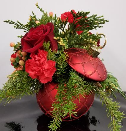 Christmas Magic Bouquet Fresh Arrangement In Keepsake Ornament In