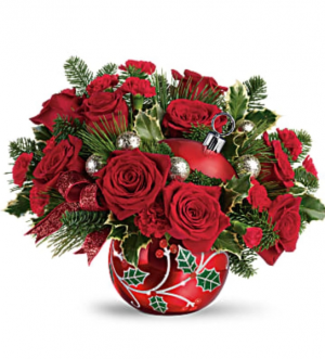Christmas Ornament  Arrangement in Bristol, CT | DONNA'S FLORIST & GIFTS