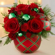Christmas Ornament Arrangement Holiday Ornament with Flowers