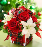 Christmas plaid centerpiece in cube