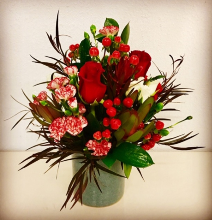 Christmas Pottery  Floral Arrangement
