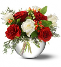 Christmas Rose Bowl floral arrangement