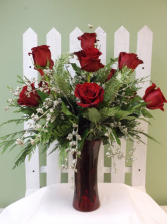 CHRISTMAS SHIMMER  ROSE ARRRANGEMENT