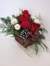 Christmas Sleigh Seasonal Arrangement