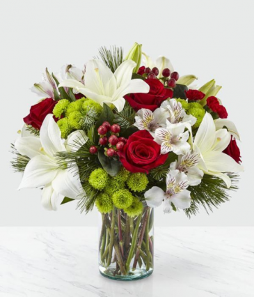 CHRISTMAS SPIRIT BOUQUET RED,GREEN AND WHITE FLOWERS
