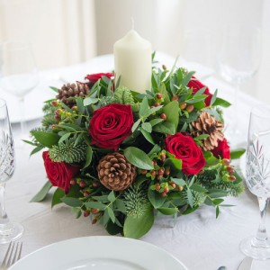 Christmas Splendor Centerpiece Holiday Centerpiece, Round with Candle in Brattleboro, VT | WINDHAM FLOWERS