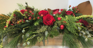 Christmas Splendor long wooden box in Northport, NY | Hengstenberg's Florist