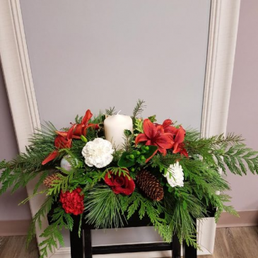 christmas table piece with Pillar Candle
