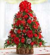 Christmas Tidings Tree with Cardinals Pine Bark Basket