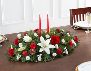 Christmas Traditional Centerpiece  in Winter Park, FL | ROSEMARY'S FLORAL & EVENTS