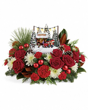 Christmas traditions centerpiece in Claremont, NH | FLORAL DESIGNS BY LINDA PERRON