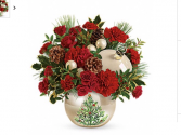 Christmas Tree Ornament  Keepsake container with fresh flowers